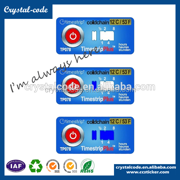 Temperature and color change stickers, heat sensitive color changing sticker label
