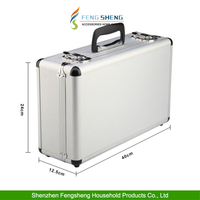 Grey Carry Flight Case Large Lightweight Aluminum Foam Padded Protection Safe Storage Tool Box