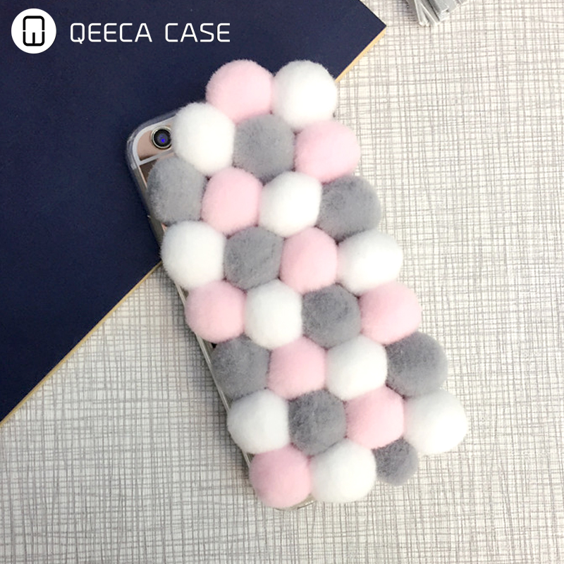 Handmade Soft Pom Pom Cell Phone Case for iphone 6 6s 7 5 5s plus,Mirror Velvet Handphone gift plush ball phone case back cover