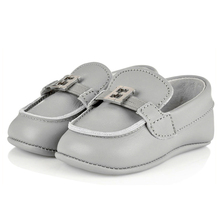 Comfortable Learning Walking Genuinet Leather Silver Color Italian Style Soft Sole Dongguan Baby Shoes