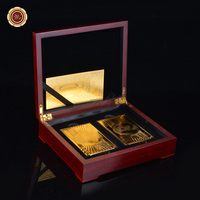 WR Colored Playing Cards 24K Gold Foil Plated USD 100 Poker 2pcs/lot with Red Wooden Box
