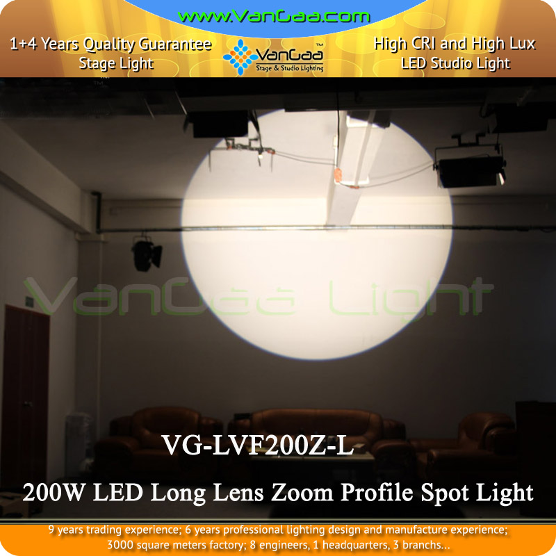 Vangaa 2016 Wholesale 200W LED Long Lens Zoom Profile Spot Light