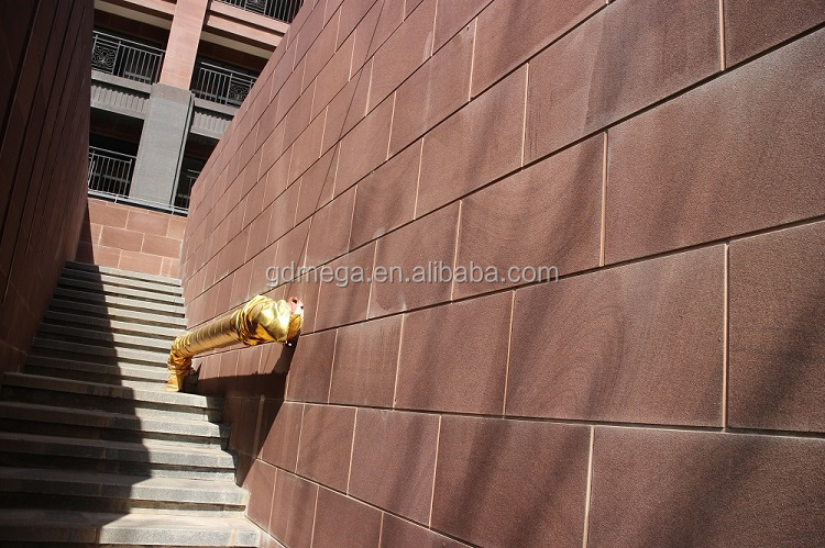 Red eco-friendly sandstone exterior wall board with stain resistant