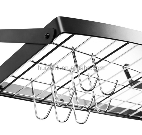 25 by 12-inch all Mount Square Grid Pot Pan Rack includes 8 hooks