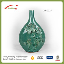 Porcelain china flower butterfly green unique shape single stem tall wedding vases