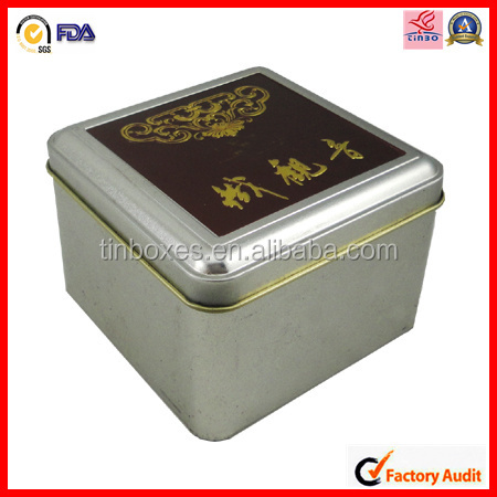 large antique metal square tea tin cans