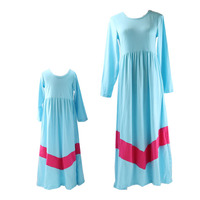 2016 Hot Maxi Blue & Dark Pink Women And Children Elegant Dress SOft Mother and Daughter Matching Dresses