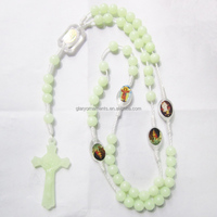 Glow in the dark plastic beads rosary necklace