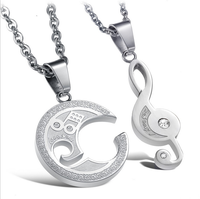 factory Wholesale China Fashion Musical Note Pendant For Music Student and lover necklace for couple