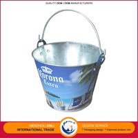 Cheap Promotional Custom Party Ice Buckets Galvanized Iron Metal Ice Buckets