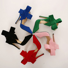C89531A New fashion lady bowknot high heel shoes big size women shoes
