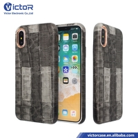 New 2017 HIGH QUALITY hot selling printing design copy pu leather case for iphone X with crocodile pu leahter