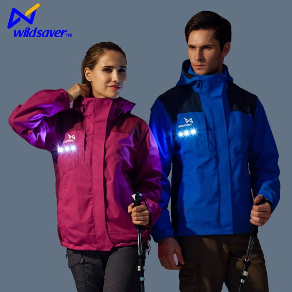 Outdoor casual LED reflective yellow ski biker sports jacket men winter
