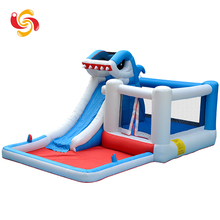 Wholesale cheap china toys plastic PVC shark inflatable bounce house with water pool slide