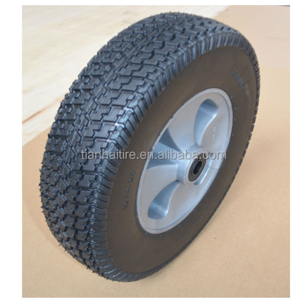 12x3.25 inch ROHS standard semi pneumatic rubber wheel with silver plastic rim for mowers or material handling equipment