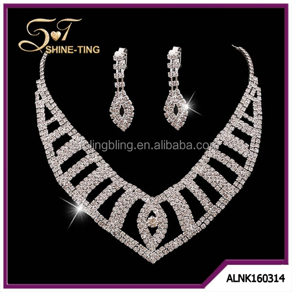 Crystal Bridal Jewelry Sets Hot sale Necklace+earrings Classic Jewelry Wedding Accessory, Party Jewelry