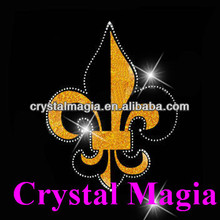 quality insurance glitter fleur de lis iron on transfer rhinestone design