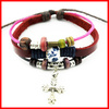 Vintage Ant Cross Charm Bracelet With Wooden Beads Costume Jewelry Leather Bracelet For Men