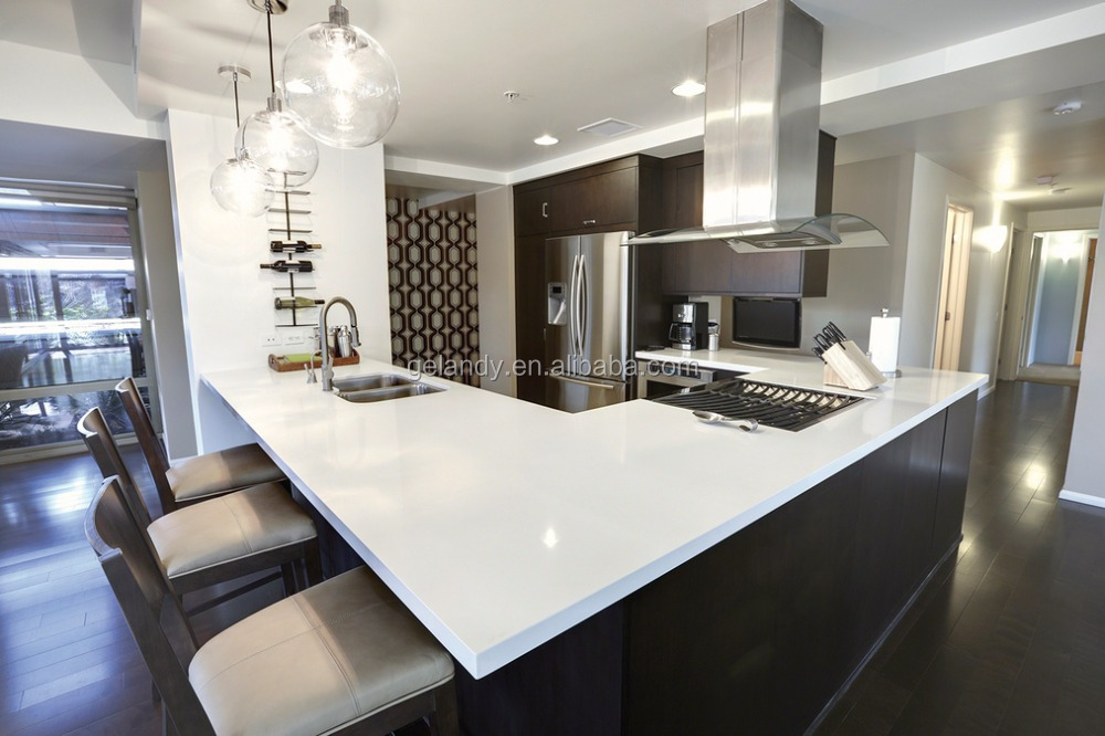 white sparkle engineered stone quartz stone slab top dining tables countertop