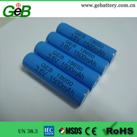 Li-ion 18650 3.6v1500mah rechargeable cylindrical battery with high performance