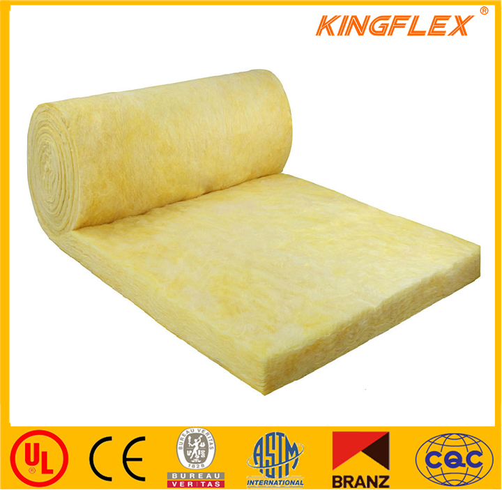 Fiber glass wool blanket roll low thermal conductivity insulation