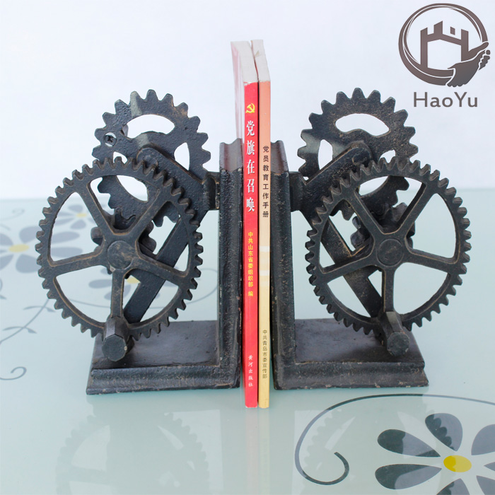 arts and craft The Gear cast iron bookends for library bookend or home decor