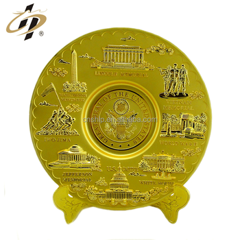 Custom zinc alloy 3D metal gold military commemorate plates