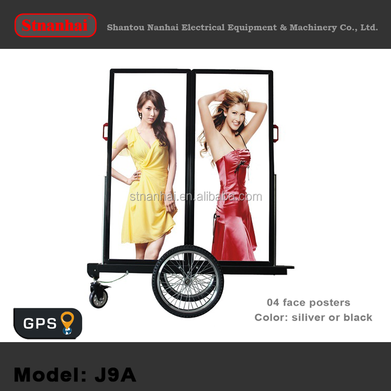 J1B-105 New media double faces LED advertising black walking led billboard with high bright LED light