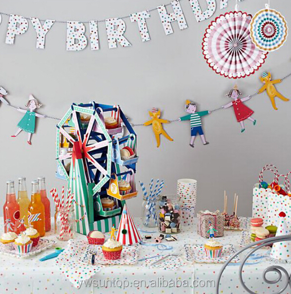 Oohlala Happy Birthday Party Bunting Flags Paper Party Banner High Quality