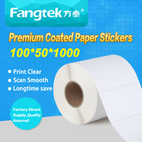 Easy peel and stick self adhesive paper sticker labels in blank rolls 100mm x 50mm 1000labels per roll