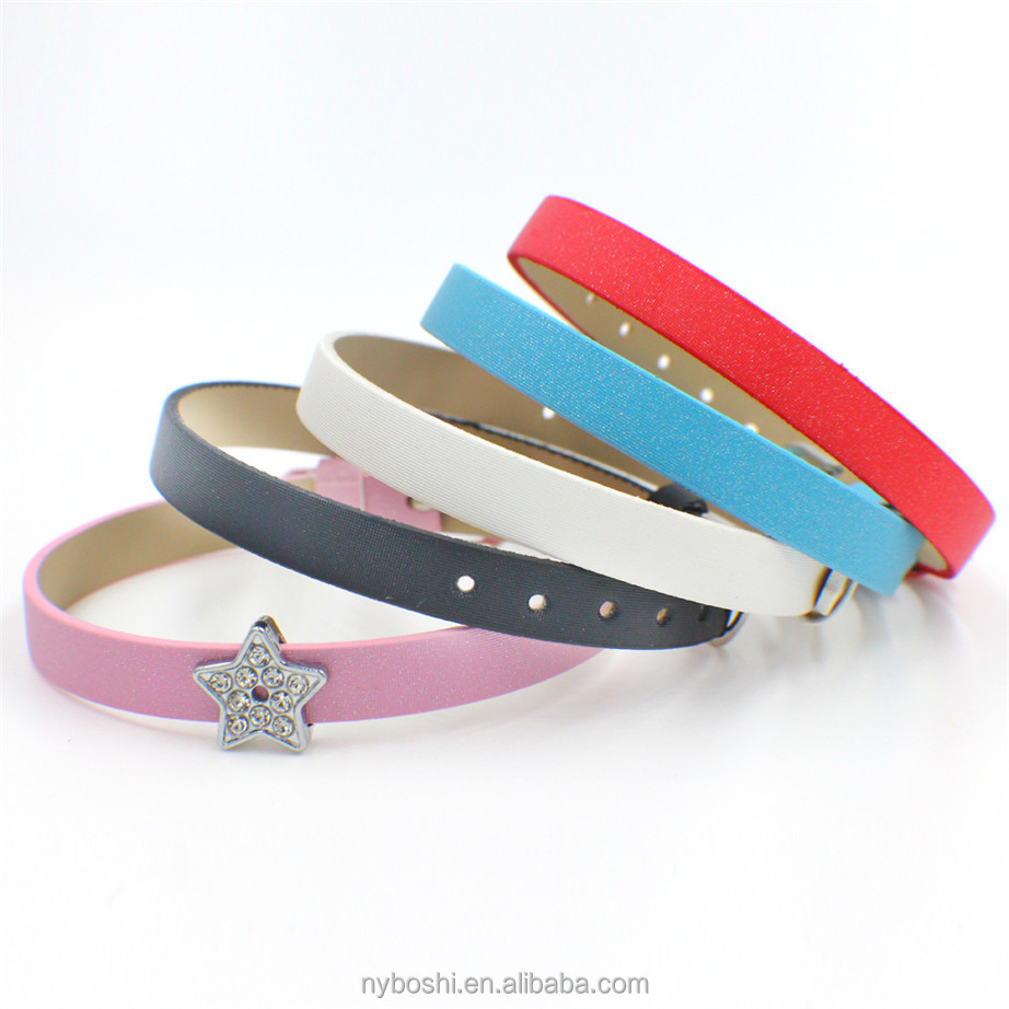 Wholesale 10pcs/lot 8mm wide 21cm length mix color Frosted PU Leather Wristband DIY <strong>Accessories</strong> fit 8mm slide letters charms