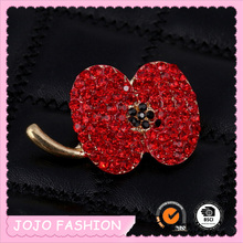 Fashion jewelry making supplies gold zinc alloy apple shape red rhinestone brooch