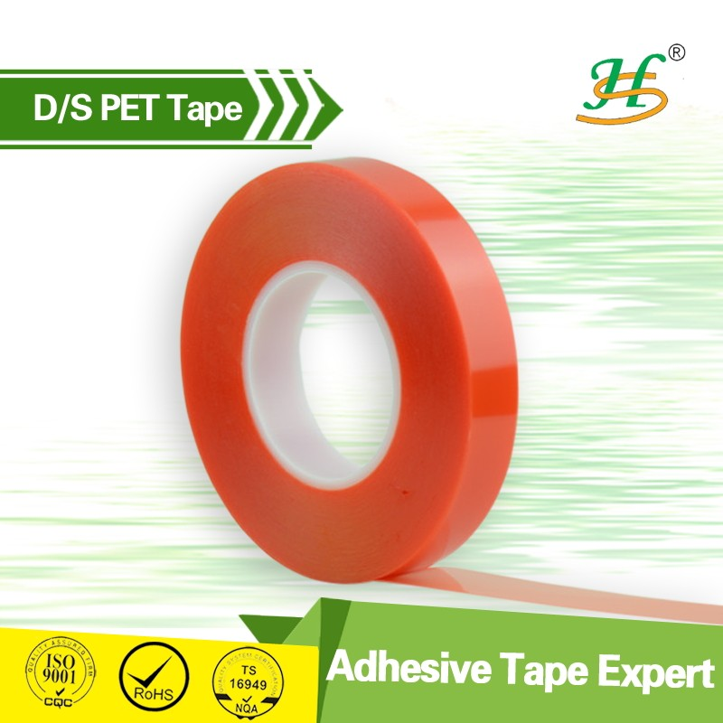 ISO9001&SGS China Quality Supplier PET Double Sided with red liner Tape apply in stationery
