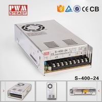 CE approved 16.6A 400W 110vac 24v dc power supply for led lights