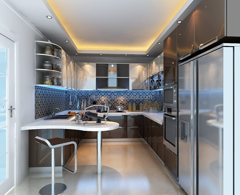 Designed for kitchenette with bar counter U-type paint cabinet