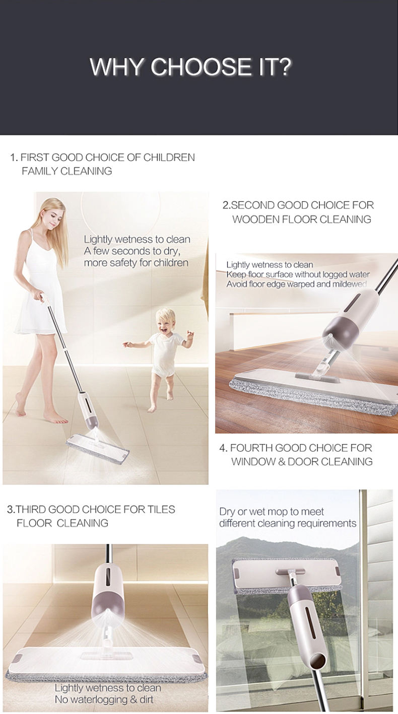 2018 TOPOTO Innovative Microfiber Floor Cleaning Type Portable Water Spray Mop