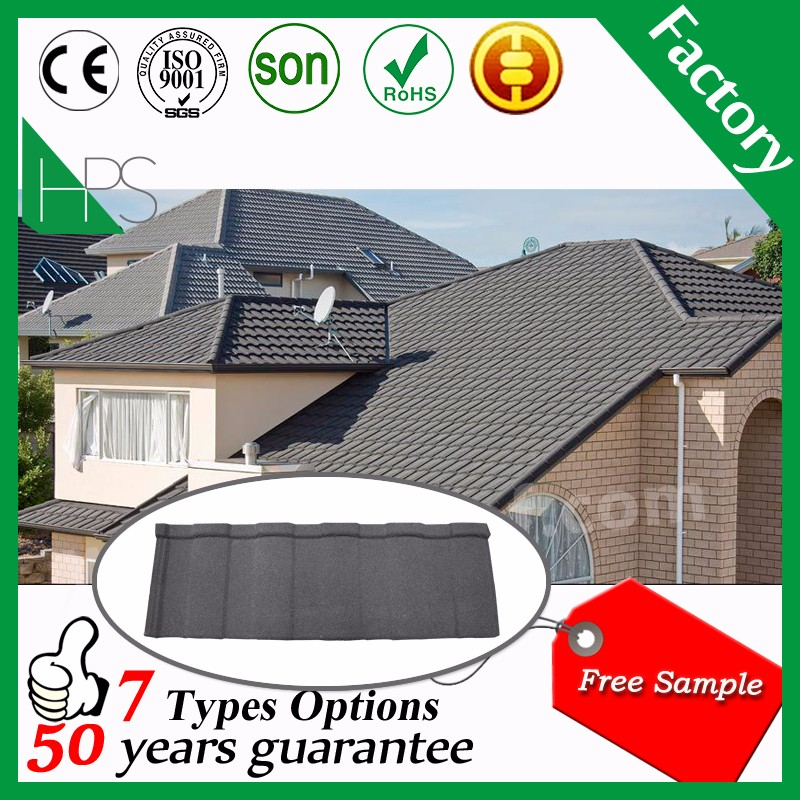 Africa popular home building material color stone metal roof tile
