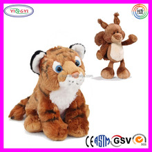 A125 Wholesale Soft Jingle Animal Tiger and Fox Plush Toy Keychain
