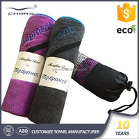 Ultra-compact absorbent microfiber fitness textile series product sport towel with pocket and logo