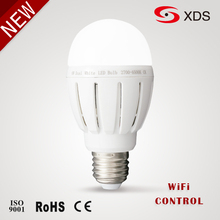 New! pure white/warm white E27 6-9w Wifi control dimmable led bulb 2.4G Touch Screen Remote Control RGB wifi led bulb