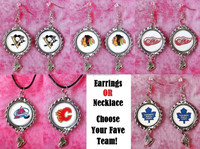 european nhl team earring, metal nhl pendant