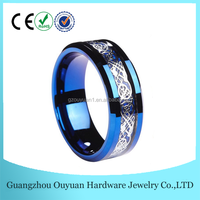 8MM Blue Tungsten Ring, Celtic Tungsten Ring, Tungsten Ring with Silver Dragon inlay