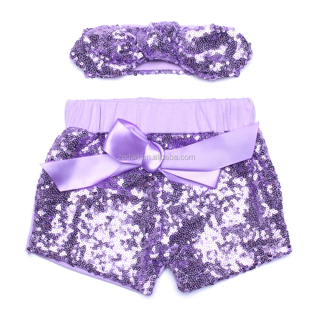 Boutique Baby Girls Sequin Shorts Matching With Headband Toddler Gold Sparkle Short Sets