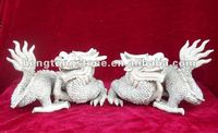 White Marble Animal Of Two Dragons Craft