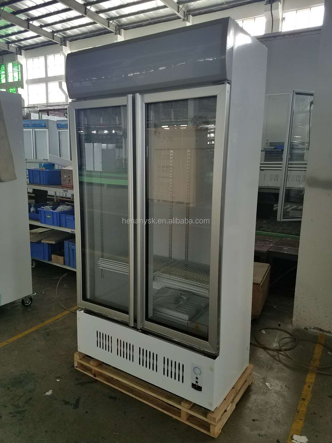 Commercial Glass Fridge 2 Glass Door Vertical Chiller Refrigerator Display Drink Showcase