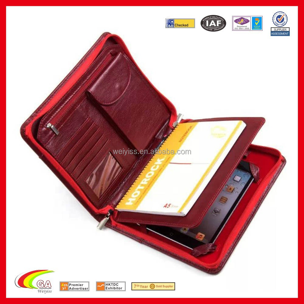 Red portfolio case ladies' leather portfolio for Ipad with phone bag