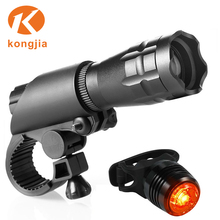 LED Zoom Flashlight Set Bicycle Front Light Rechargeable Led Bike Light Usb Safety Rear Bike Light