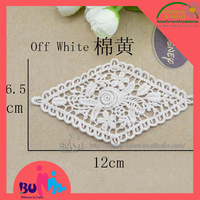 white lace embroidery flower patches, lace applique for wedding decor and clothing