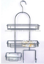 Metal hanging shower shelf with towel and soap rack