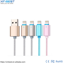 Smart automatically power-off auto disconnect usb data cable with LED light USB cable for iPhone